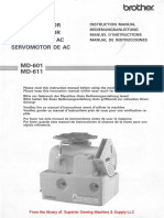 Brother MD-601, MD-611 AC Servomotor Instruction Manual