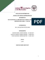 Ecuacion Lineal, APLICACIÓN DE LA LINEA RECTA