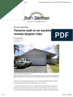 Tenants Cash in on Vacation Rentals Despite Risks