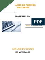 A.p.u. - Materiales