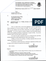 Appointment Letter as a Visiting Advocate at NLU Dwarka