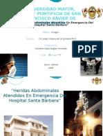 Heridas Abdominales Atendidos En Emergencia Del Hospital Santa Bárbara Sucre Bolivia 2009 - Presentacion