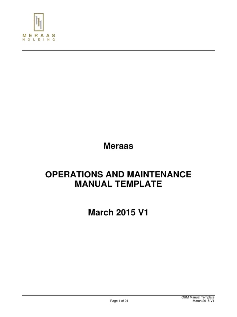 Operations And Maintenance Manual Template Specification