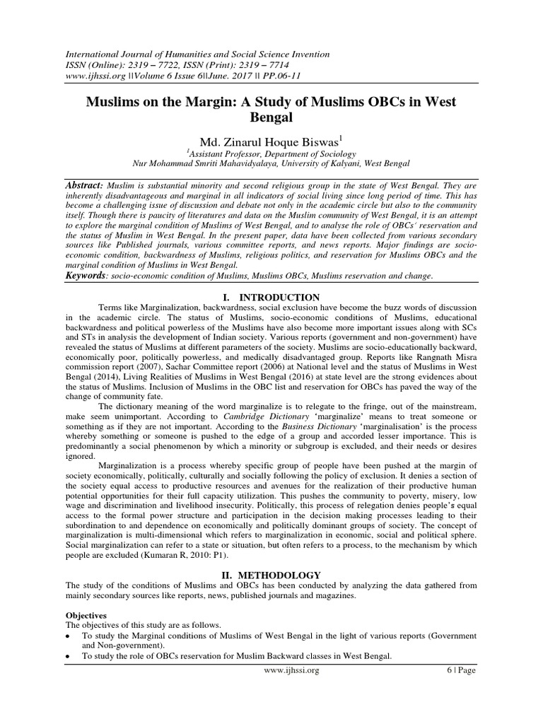 Muslims on the Margin: A Study of Muslims OBCs in West Bengal