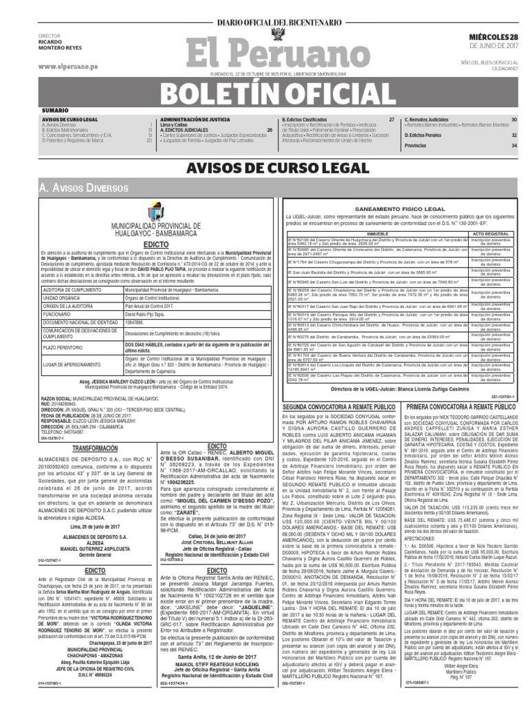 Diario Oficial El Peruano, Edición 9740. 28 de junio de 2017