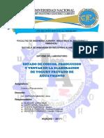 ESTADO DE COSTOS, PRODUCCION Y VENTAS EN LA ELABORACION DE YOGURT FRUTADO DE AGUAYMANTO