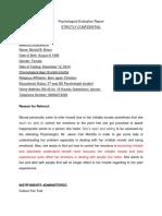 Psychological Evaluation Report
