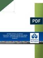 Defensoria Del Pueblo - Informe Especial de Riesgo Violencia y Amenazas Contra Los Lideres Sociales y Los Defensores de Derechos Humanos 30 Marzo 2017