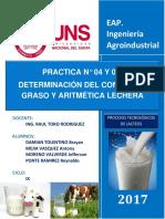 4 y 5 - Determiancion de Grasa y Aritmetica Lechera
