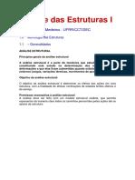 ANÁLISE DE ESTRUTURAS 1 - NOTAS DE AULA