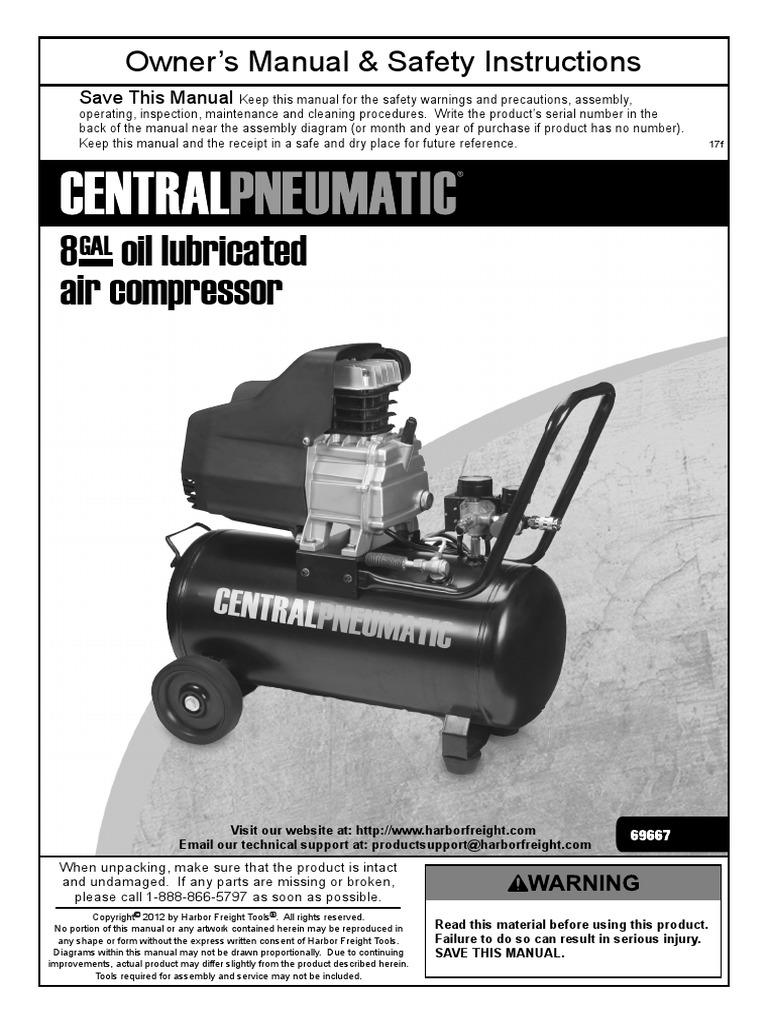 MANUAL DE COMPRESOR CENTRAL PNEUMATIC # 69667 pdf
