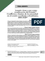 """""""El funcionario viene a ser como la personificación del Estado"""". Conflictos y límites de autoridad en el Centro Occidente colombiano. 1850-1925"""