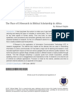 The Place of E Research in Biblical Scholarship in Africa