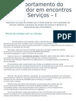 3 - Comportamento Do Consumidor Em Encontros de Serviços – I