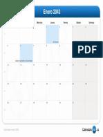 Calendario Enero 2043