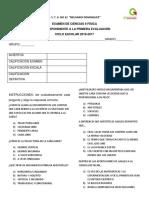 EXAMEN DE CIENCIAS 1° bloque