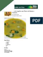 Sopa de Agrião Com Flores de Batata e Cenoura