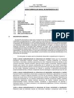 Programación Curricular Anual de Matemática 5to