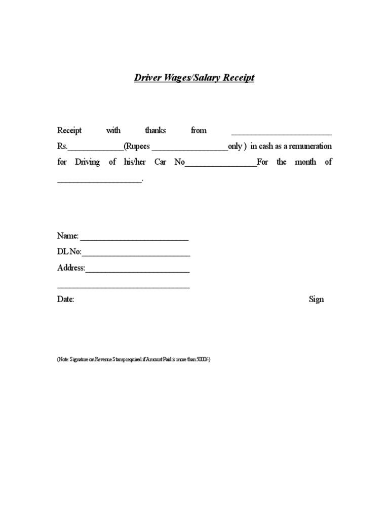 Driver Salary Receipt Template