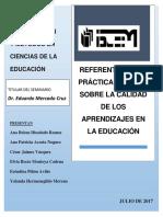La Calidad de Los Aprendizajes Educación Básica. (Trabajo Final)
