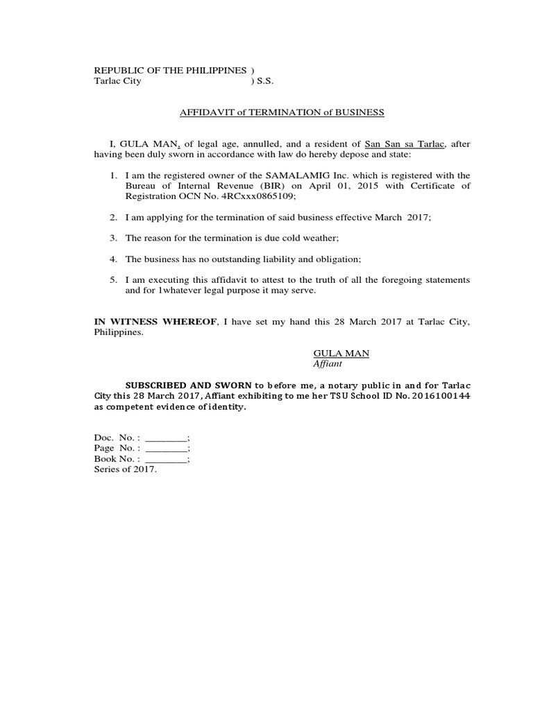 Affidavit of closure of business bir spiritdancerdesigns Choice Image