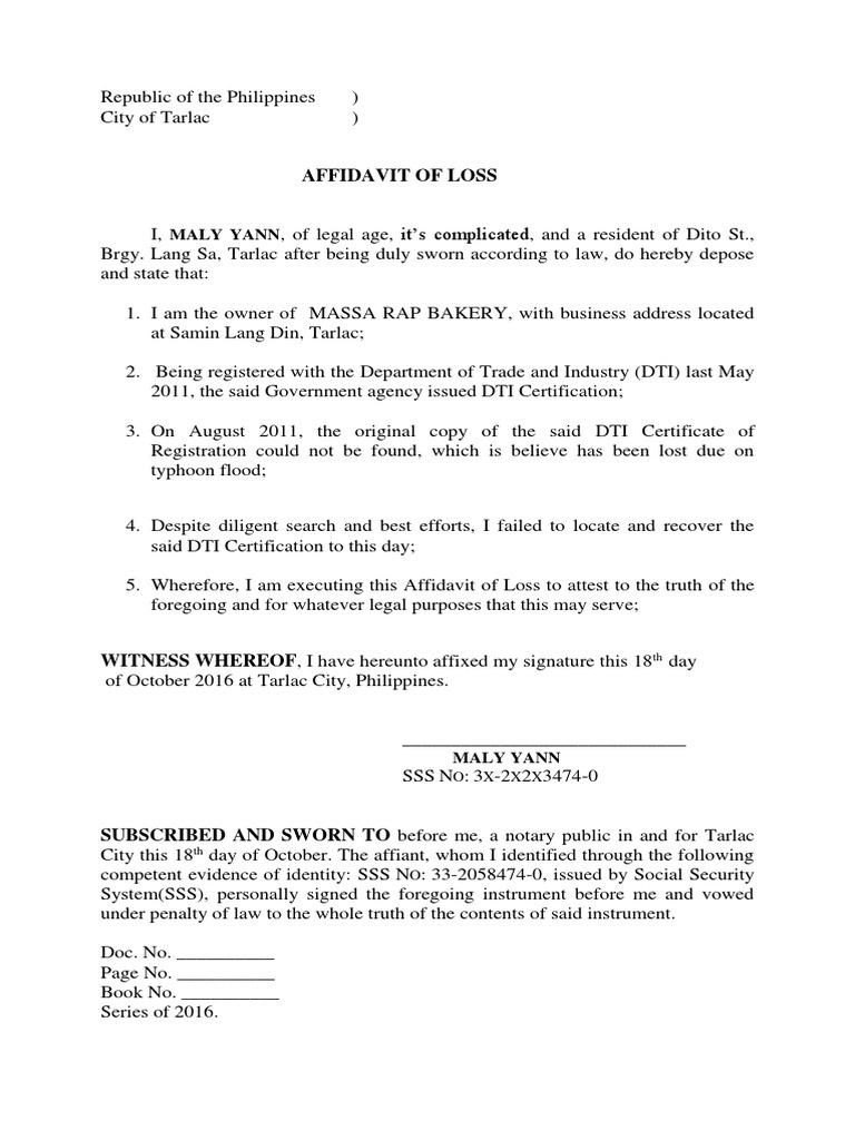 Affidavit of loss certificate of registration bir yadclub Images
