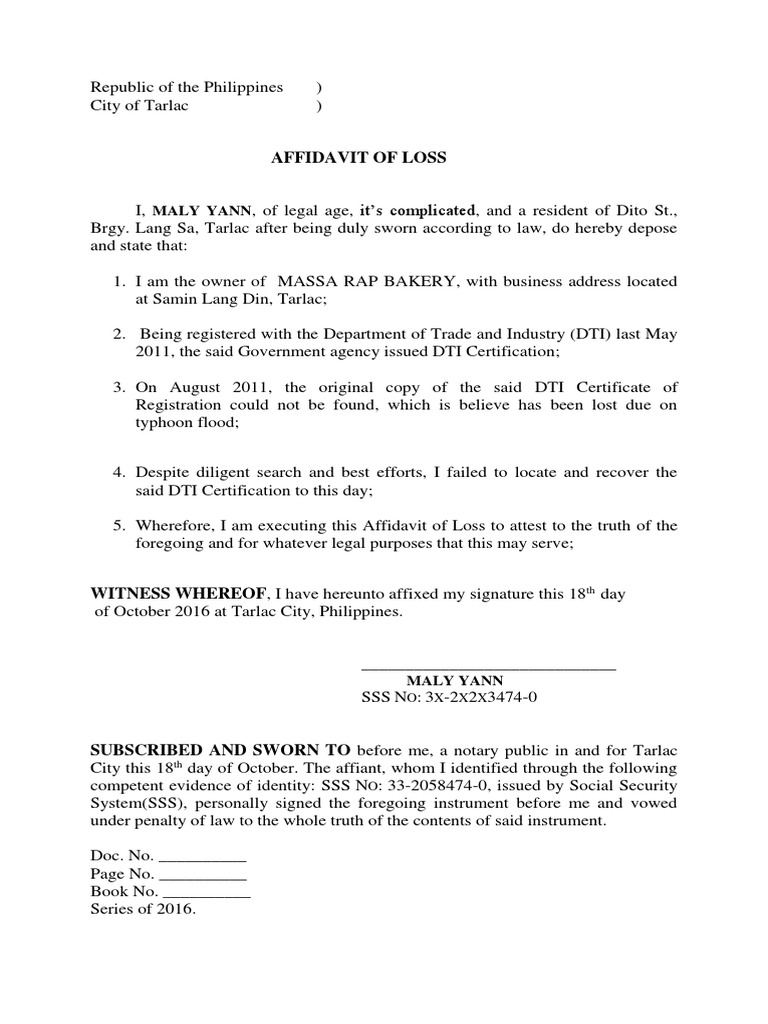 Affidavit of loss certificate of registration bir yelopaper Image collections