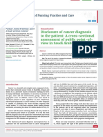 Disclosure of cancer diagnosis to the patient