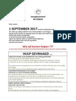 Takenlijst 1 September 2017  Brief Voor Ouders