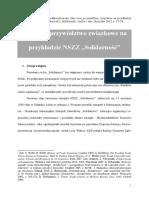 """Idee oraz przywództwo związkowe na przykładzie NSZZ """"Solidarność"""" [Ideas and Union Leadership on the Example of the """"Solidarity""""]"""