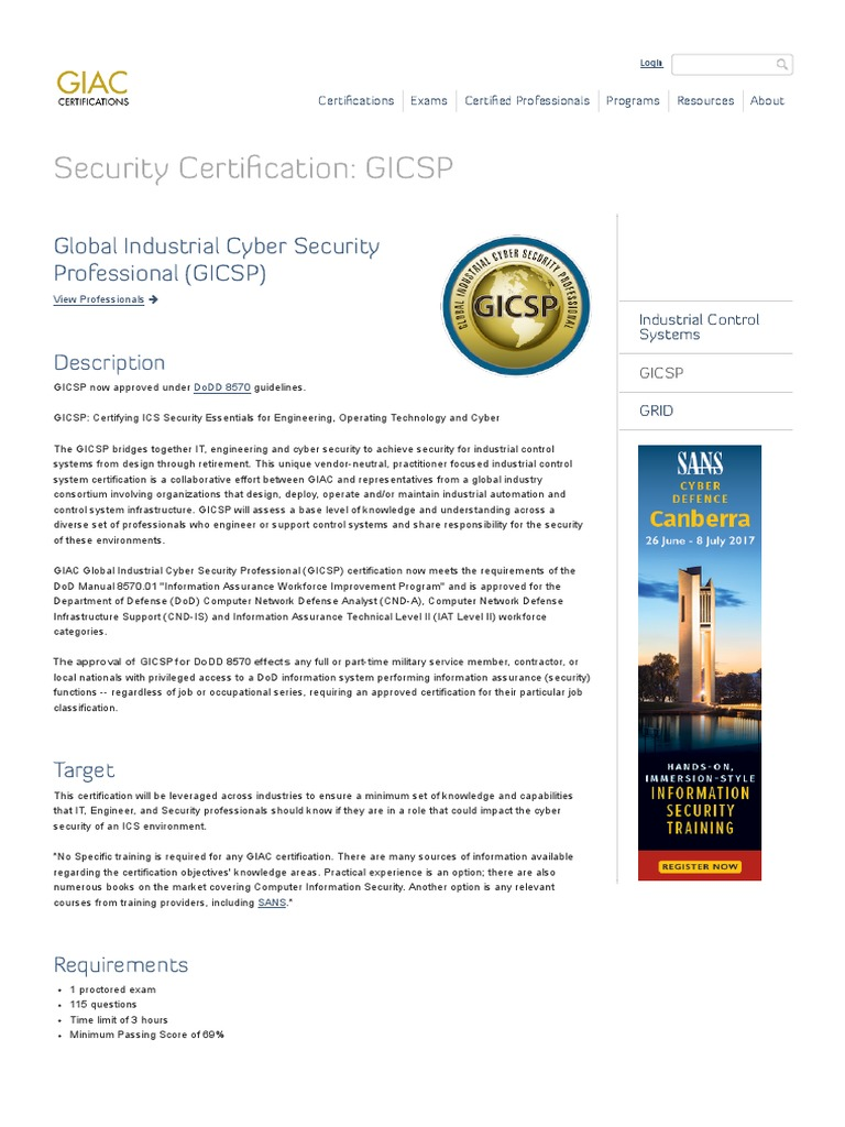 Industrial Cyber Security Certification Gicsp Giac