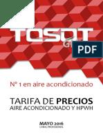Tosot Tarifa 2016