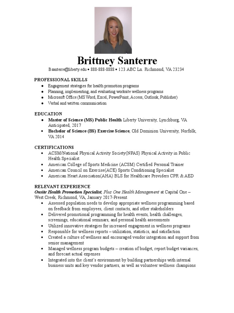 Resume Personal Trainer Business