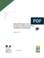 Quantification des émissions de gaz à effet de serre à l'échelle territoriale - 2003
