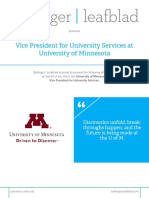 University of Minnesota - Vice President of University Services - Position Profile