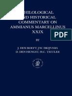 Jan Willem Drijvers, J. Den Boeft, D. Den Hengst, H. C. Teitler, Philological and Historical Commentary on Ammianus Marcellinus 29 (Inglés)