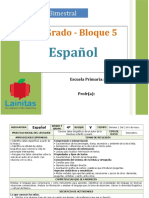 Plan 4to Grado - Bloque 5 Español