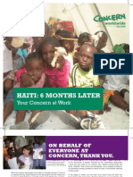 Concern International- 6 Month Haiti Anniversary Report