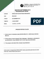 Soalan Peperiksaan HBLS4403 Kejuruteraan Mekanikal