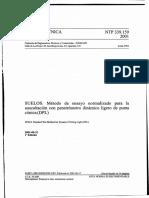 NTP 339.159-2001(Suelos)Metodo de Ensayo Normalizado Para La Auscultación Con Penetrómetro Dinámico Ligero de Punta Cónica(DPL)