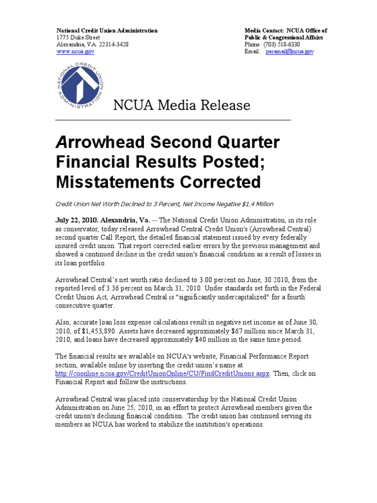 Ncua Arrowhead National Credit Union Administration Banking