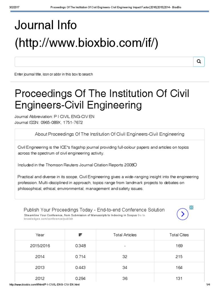 Proceedings of the Institution of Civil Engineers-Civil