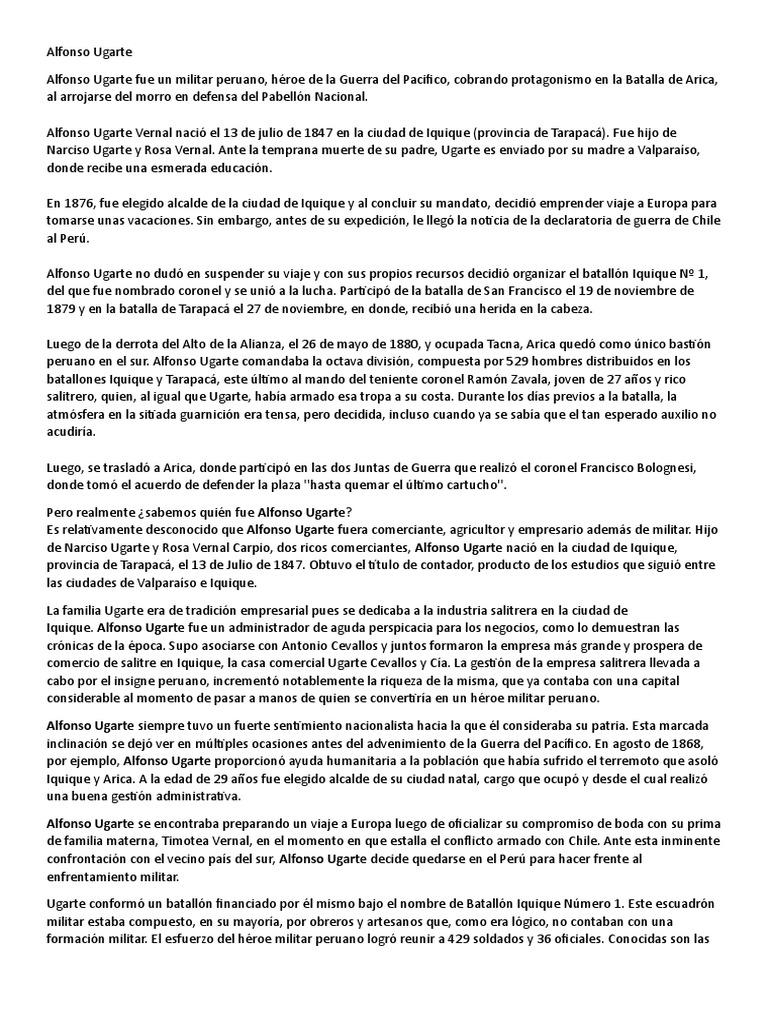 Alfonso Ugarte Heroe Nacional Militar Disturbios
