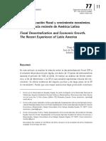 Descentralización fiscal y crecimiento económico. La experiencia reciente de América Latina