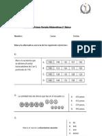 Evaluacion de Periodo Matematicas 3 Básico