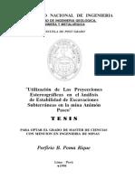 Utilización de Las Proyecciones Estereográficas en El Análisis de Estabilidad de Excavaciones Subterráneas