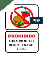 Prohibido alimentos y bebidas en este lugar