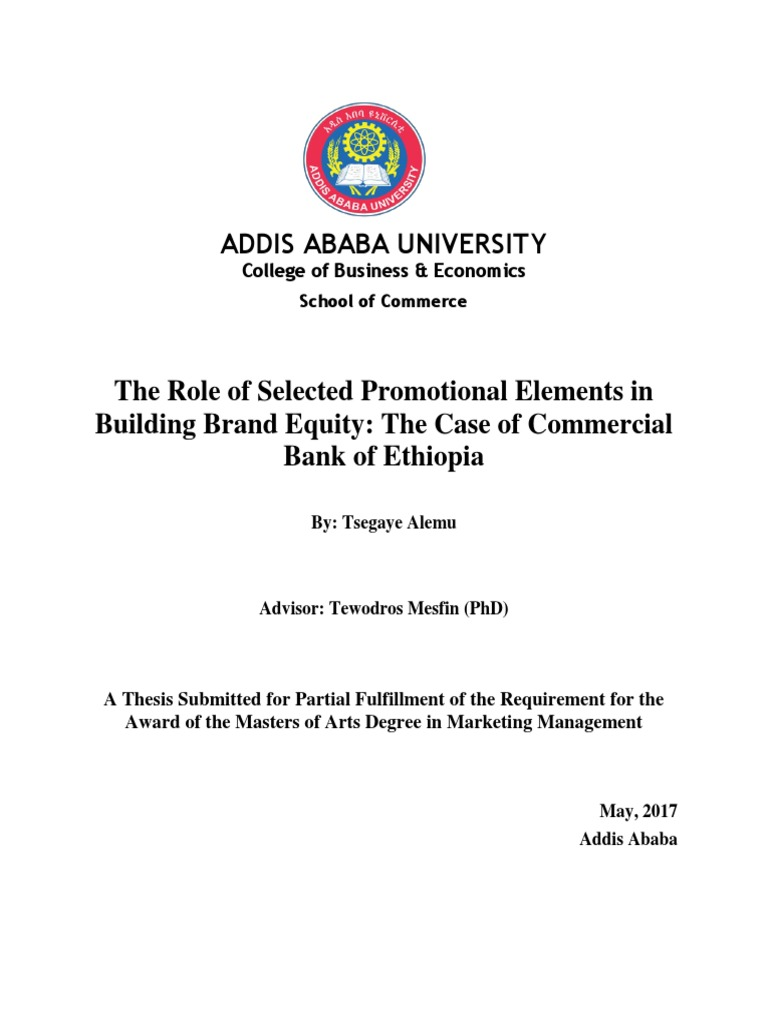 The role of selected promotional elements in building brand equity the role of selected promotional elements in building brand equity the case of commercial bank of ethiopia brand promotion marketing fandeluxe Images