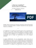 Qué es meditar. Reflexiones sobre la meditación - José Manuel Martínez Sánchez