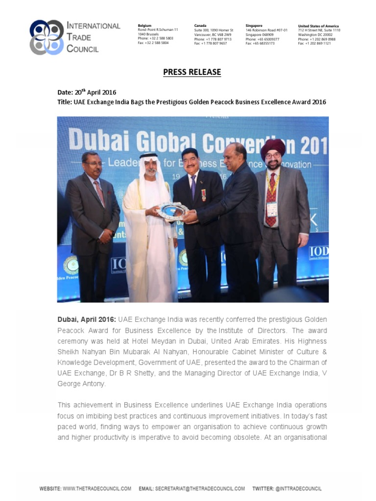 UAE Exchange India Bags the Prestigious Golden Peacock Business